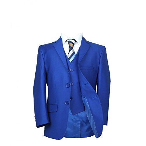 SIRRI Premium Italian Schnitt Jungen Königsblau Anzug, Pagenjunge Hochzeit Ball Abendessen Jungen Anzug in hellblau - königsblau 5 PC, 4 years (4 Abendessen)