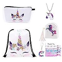 Unicorn Drawstring Backpack Unicorn Gift Sets for Girls Kids Christmas 6 Set