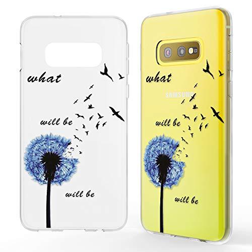 NALIA Hülle kompatibel mit Samsung Galaxy S10e, Motiv Handyhülle Slim Silikon Case Cover Schutzhülle Dünn Durchsichtig, Etui Handy-Tasche Backcover Transparent Bumper, Designs:Dandelion Blau