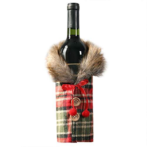 Myspace 2019Dekoration für Christmas Frohe Weihnachten Santa Wein Set Bottle Bag Dekoration Gestreiften Plaid Rock Cover Xmas Festival Party Tisch Dekor Geschenk 2PCS