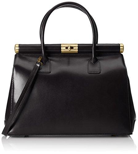 CTM-Tasche Frau, Elegante Satchel mit Griffen und Schulterriemen aus echtem Leder, 35x28x16cm Schwarz (Nero)
