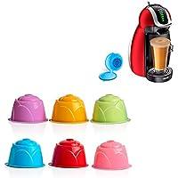 LTXDJ Cápsulas de Café Reutilizables, Vistoso Filtros Cápsulas de Café Apto para Cafetera Dolce Gusto,6 Piezas de Tazas