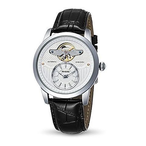 Time100 Montre blanche homme de la série de l'armée simple rétro automatique mécanique exquise distinguée bracelet en cuir véritable W70052G.02A