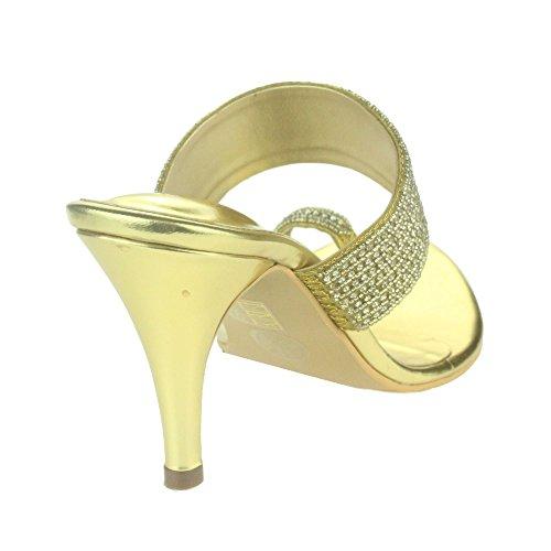 Femmes Dames Sparkly Cristal Diamante Soir Mariage Fête Bal de promo Ring Toe Talon haut Des sandales Chaussures Taille Or
