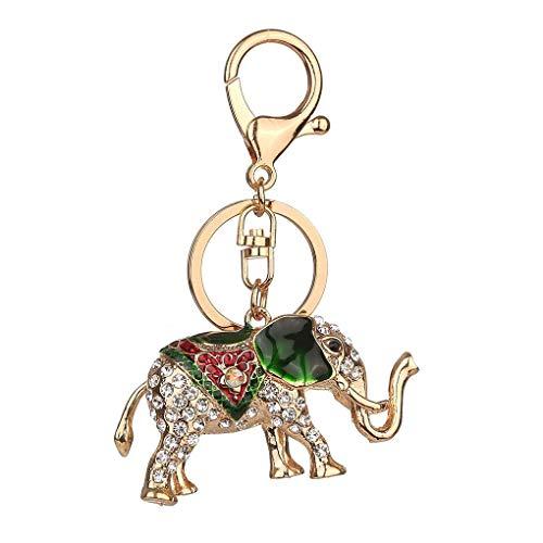 Anillo titular de la clave llavero de coches Elefante afortunado goteo de aceite Rhinestone llavero de aleación de cristal Animal