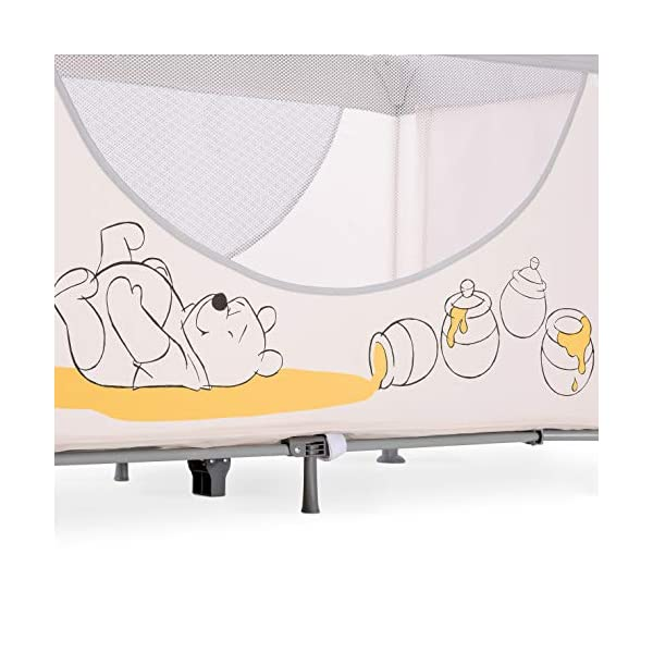 Hauck Dream N Play Go, 5-Part Travel Cot from Birth to 15 kg, 120 x 60 cm, Folding Travel Bed with Folding Mattress, Carry Bag, Play Arch and Toy Bag, Tilt-Resistant, Pooh Cuddles Disney Suitable from birth Includes fold up mattress (60 x 120cm) Folds away into its own carry bag 5