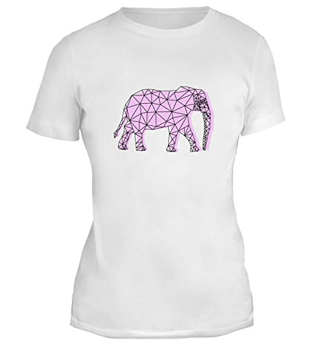Mesdames T-Shirt avec Pink Ornamental Polygon Elephant Illustration imprimé. Blanc