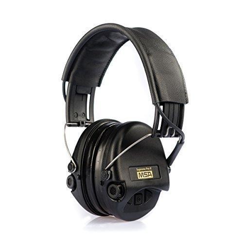 MSA Sordin Supreme Pro X - Aktiver Profigehörschutz, inkl. superbequeme Gelkissen / Ausführung: schwarzes Lederband u. schwarze Cups / AUX-Eingang