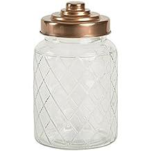 Entramado jarra de cristal con acabado de cobre tapa 950 ml – tarro de cristal Vintage