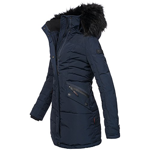 Navahoo Damen Winter Jacke Mantel Parka warm gefütterte Winterjacke B379 Blau