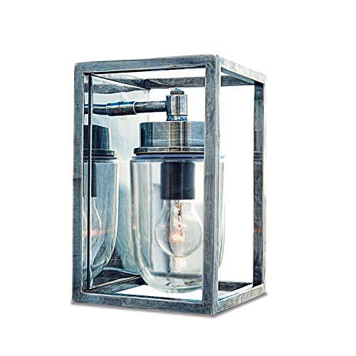 Loberon Außenwandlampe Tossa, Messing, Glas, H/B/T 26/17 / 17 cm, silber, E27, max. 40 Watt, A++ bis E -