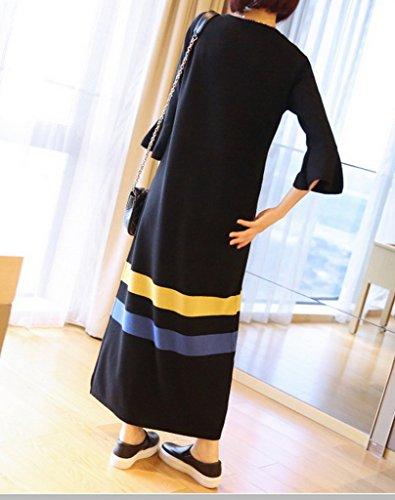 Smile YKK Pull Robe Longue Femme Col Rond Manche Longue Sweat Hiver Noir