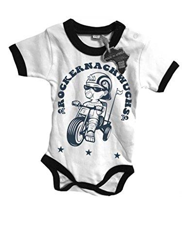 Outfitfabrik ♥ hearts; Baby & Kleinkind Body Rockernachwuchs in weiß für 6-12 Monate