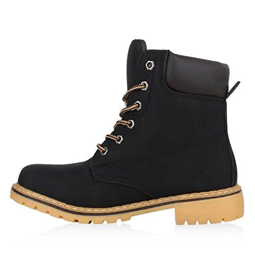 UNISEX Damen Herren Worker Boots Outdoor Schuhe Schnürstiefel Schwarz Hellbraun