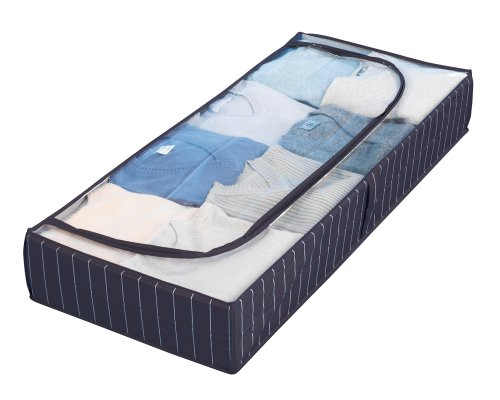 Wenko 4380440100 Unterbettkommode Comfort, Kunststoff - PEVA, 105 x 15 x 45 cm, Blau (Bett-bettwäsche-stoff)