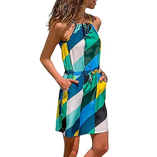 POPLY Frauen Kleid Sommer ärmelloses Gedrucktes Elastisches Taillen-Taschen Beiläufiges Strand Minikleid