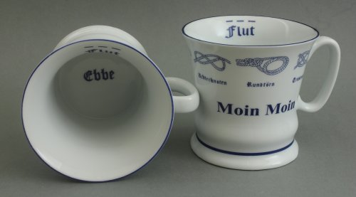 Buddel-Bini Moin Moin Kaffeebecher Kaffeepott mit Seemannsknoten hoch