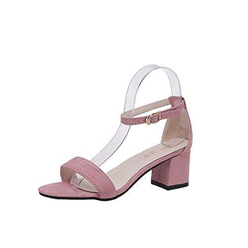 XXM-Shoes Hochhackigen Sandalen Hohl Sandalen Dick mit Sandalen Stretch Stoff Sandalen Fisch Mund Sandalen/Hausschuhe Fashion Einfach Casual Frauen Schuhe 50 Rose