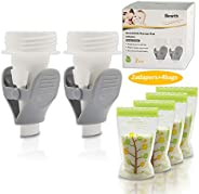 Bimirth Breastmilk Storage Bag Adapters, Compatible with Spectra S1, S2, Avent, Lansinoh Pumps with Wide Neck