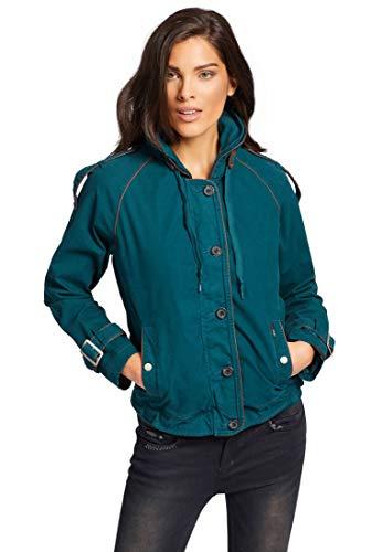 khujo Damen Jacke Stacey Blouson aus Canvas mit verstaubarer Kapuze und Lederpaspeln