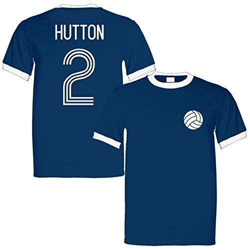 Alan Hutton 2 Scotland Legend Ringer Retro T-Shirt Navy/White, Medium