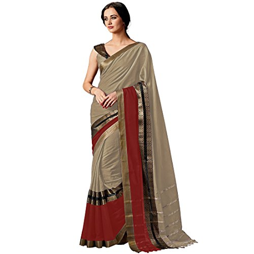 Indira Designer Women's Chiku Color Cotton Silk Plain Saree With Blouse