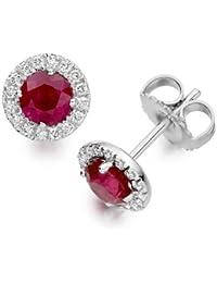 Diamond Manufacturers - Boucles d'Oreilles Femme avec 32 diamanten - Platine