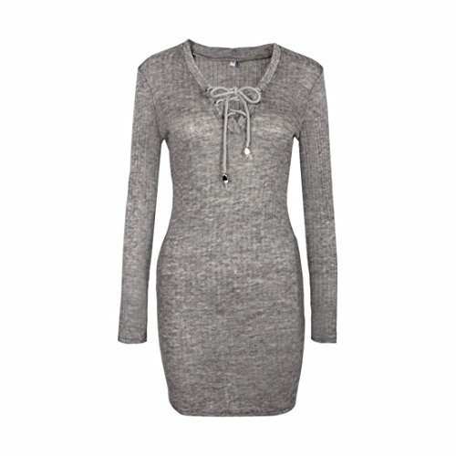 QIYUN.Z Femmes Dames Sexy V Col Chandail Bodycon Package Robe De Cravate De Hanche Gris
