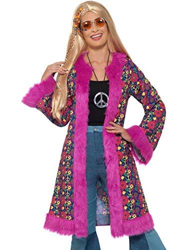 Luxuspiraten - Damen Frauen 60er Jahre psychedelische Flower Power Woodstock CND Hippie Kostüm mit Mantel, perfekt für Karneval, Fasching und Fastnacht, S/M, Violett (Psychedelische Hippie Kostüm)
