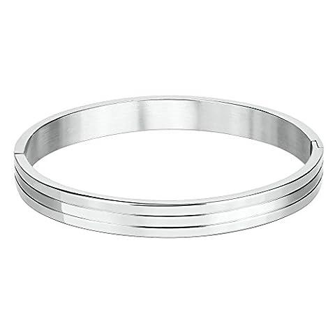 Bishiling Modeschmuck Edelstahl Armband für Herren Jungen Hochglanzpoliert 3 Streifen Armband Silber Groß