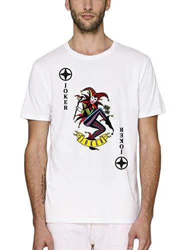 clothinx Herren T-Shirt Bio und Fair Karneval & Fasching Spielkarte Joker Kostüm Weiß/Bunt Größe - Pokerspieler Kostüm