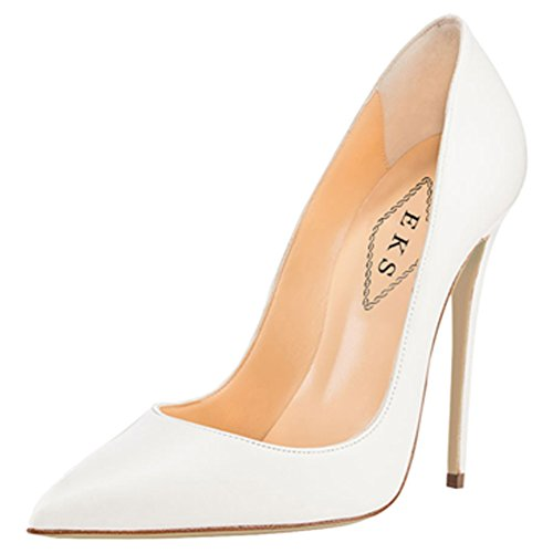 EKS Women's Pumps High Heels Sexy Pointy Toe Dress Party Court Shoes White Matte EU 43