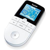 Beurer EM49 - Electroestimulador Digital Masaje EMS TENS, Pantalla LCD, 2 Canales, 4 Electrodos autoadhesivos