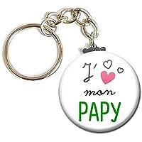 PORTE CLÉS Chaînette 3,8 cm ✩ J' aime mon Papy ✩ (idée cadeau papi pépé grand père parent)