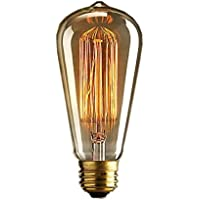 Lettuce 1x Vintage light bulb Retro old fashioned Edison Style E27 Screw ST64 19 anchors 40W 220V - Squirrel Cage tungsten filament glass antique Lamp