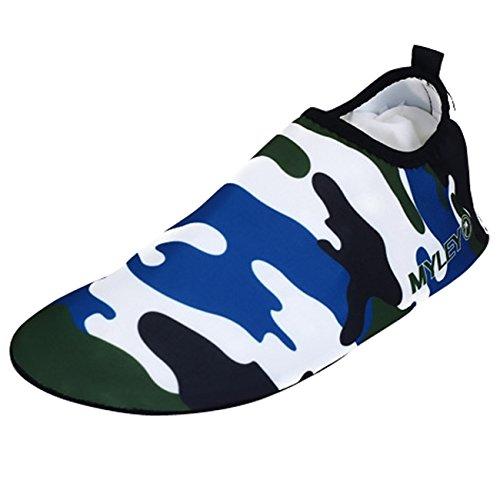 Panegy Chaussure pour Sport Aquatique Chaussons d'Eau Pliable - Chaussure de Plage Bain Plongée pour Piscine Beach Surf Natation Yoga Homme Femme - Bleu Taille (EU 44-45)