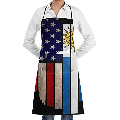 j65rwjtrhtr Delantal Vintage USA Uruguay Flag Adjustable Cooking Kitchen Aprons with Front Pocket for Mens and Womens
