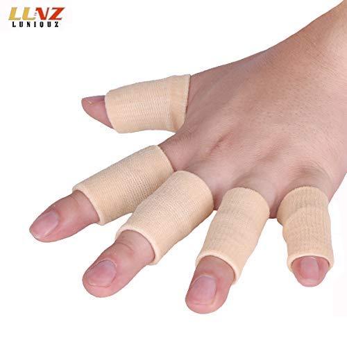 Luniquz Dedo Mangas apoyo pulgar Brace Protector transpirable elástico cinta para dedo para baloncesto, tenis, Béisbol, voleibol