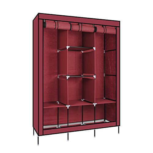 Wardrobe – Portable Clothes Closet Fabric Wardrobe Storage Organizer With Shelves Folding Wardrobe Cupboard Almirah Foldable Storage Rack Collapsible Cabinet – Diwali Decoration Home Decoration Home Decor By KARP - Wine Red Color