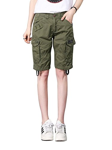 MUST WAY Women's Casual Loose Fit Relaxed Plus Size Sports Wear Bermuda Cargo Shorts with Multi Pockets