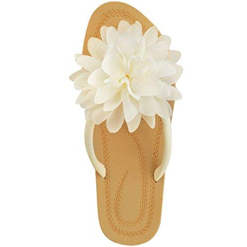Sandali floreali bassi da donna,pantofole infradito da spiaggia,scarpe in gomma bianco camoscio sintetico