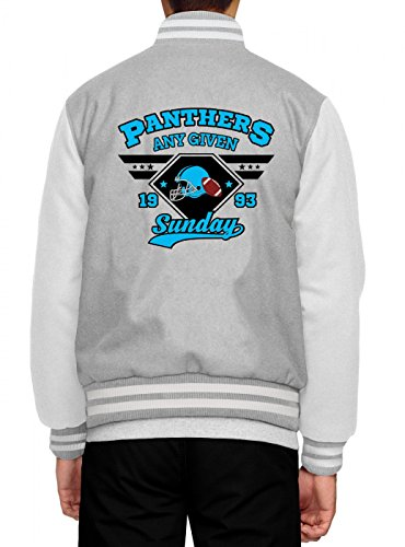 Shirt Happenz Any Given Sunday Panthers Collegejacke American Football An jedem verdammten Sonntag Super Bowl Herren Baseballjacke, Farbe:Graumeliert;Größe:XXL