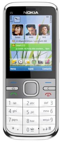Nokia C5 Smartphone (5.6 cm (2.2 Zoll) Display, Bluetooth, 3.2 Megapixel Kamera) weiß