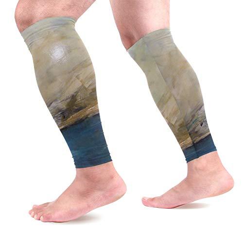 hdyefe COOSUN Abstrakte Gemälde Waden Kompression Ärmel Schienbeinschoner Beinschutz Waden Schmerzlinderung für Laufen, Radfahren,