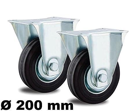 2 Bockrollen 200mm Stahl-Felge Kugellager Vollgummi für Außen u. Innen 200 KG