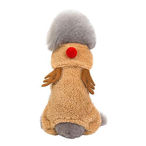 Fenverk Hundemantel Hund Hoodies Kleidung, Pet Puppy Katze Niedlicher Baumwoll Warm Coat Pullover Wintermantel Haustier Mantel Kleider(A Braun,L) (Extra Kleine Batman Kostüm Hunde)