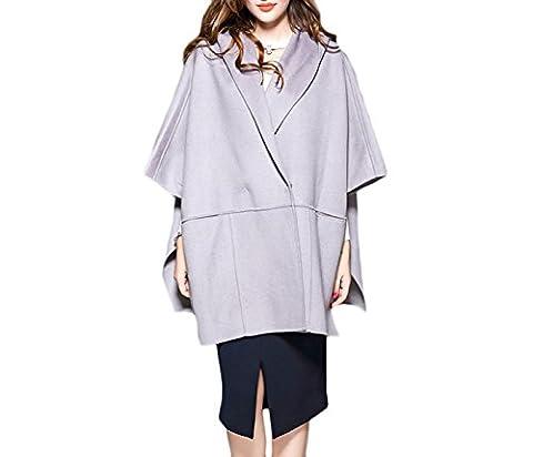 Damen Umhang Kapuzen Wollmantel Mantel Doppelseitige Kaschmir Große Taschen Windbreaker Lange Mantel.,Grey-OneSize