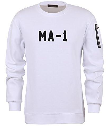 ililily MA-1 Patch Logo Stitches Slim Fit Sweatshirt Pullover Jumper Top (tshirts-369-2-XL)