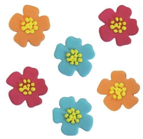 A forma di fiore di ibisco Sugarcraft Cup cake topper (6pezzi)