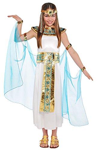 Kind Kostüm Cleopatra Ägyptische - Das Kostümland Cleopatra Nilkönigin Kostüm für Mädchen - Weiß Türkis - 6 bis 8 Jahre